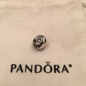 Pandora Charm Rose Flower Swirl Sterling Silver